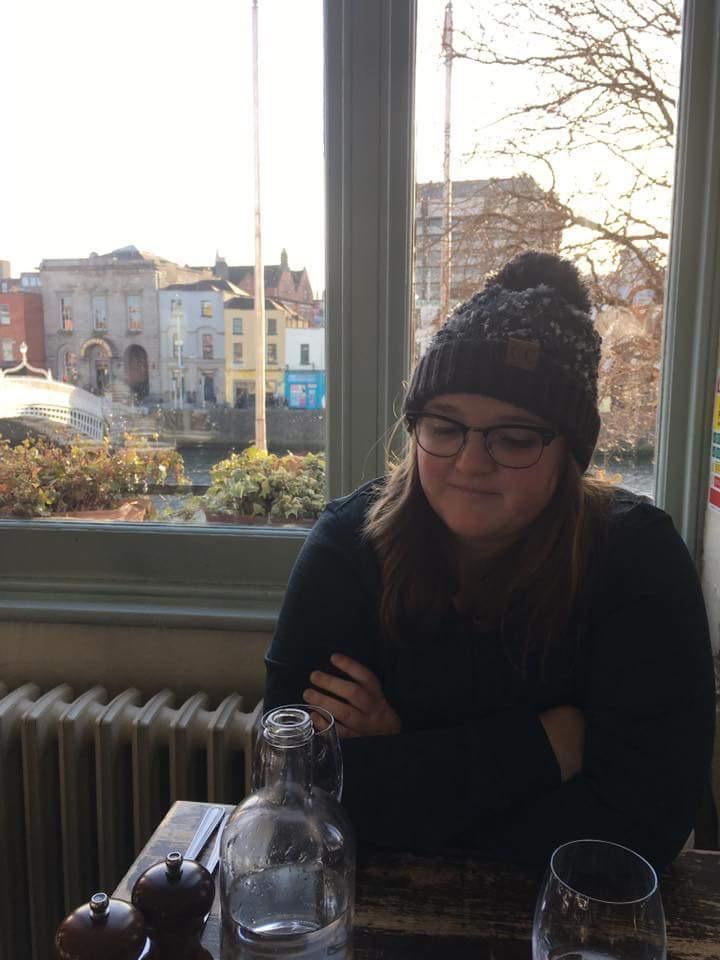 Bri Sitting in the Winding Stair restaurant in Dublin, Ireland.