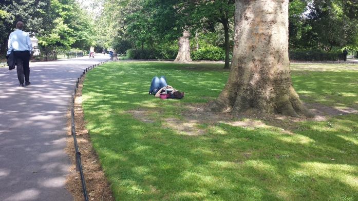 Bri's friend Catherine napping on a patch of green grass, a tree near her. There are people walking in the park in the left hand side of the picture.